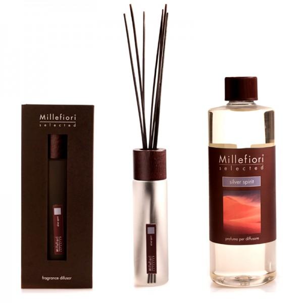 Millefiori Selected Silver Spirit Diffuser + Nachfüllflasche - Sparset