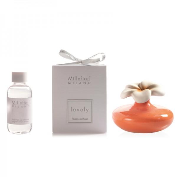 Millefiori Zierdiffuser Blume - orange - Sparset - mit Duftauswahl