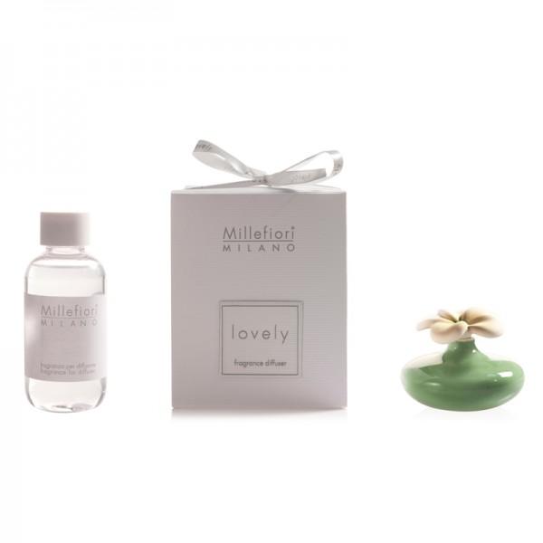 Millefiori Mini Zierdiffuser Blume - grün – Duftset - mit Duftauswahl