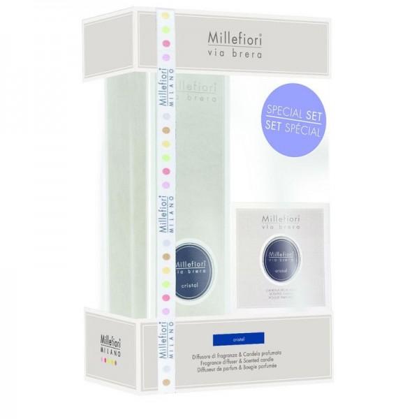 Millefiori Cristal Diffuser + Duftkerze - Geschenkset