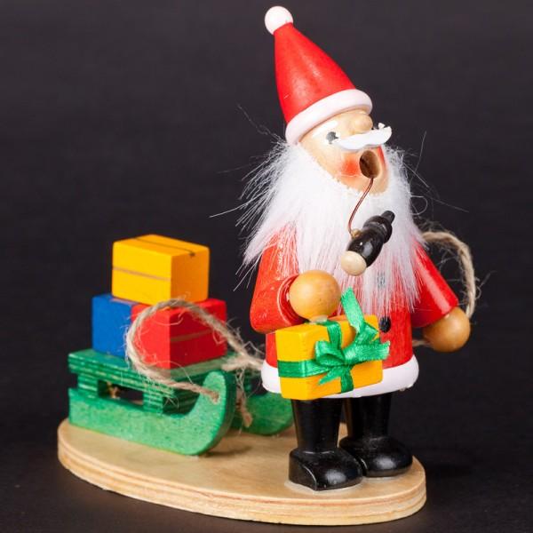 Räuchermännchen Weihnachtsmann mit Geschenk