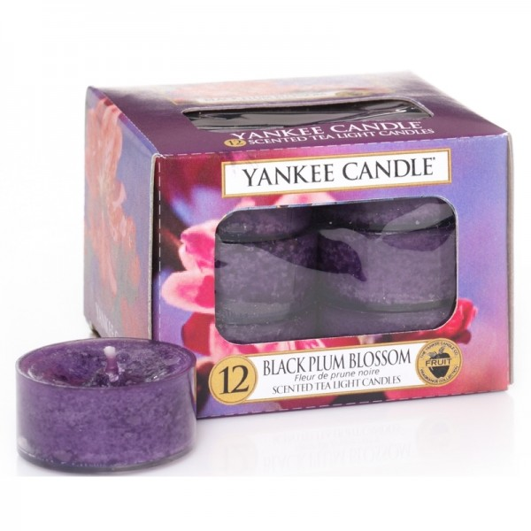 Yankee Candle Black Plum Blossom - Teelicht - inkl. Gratis Stabfeuerzeug *