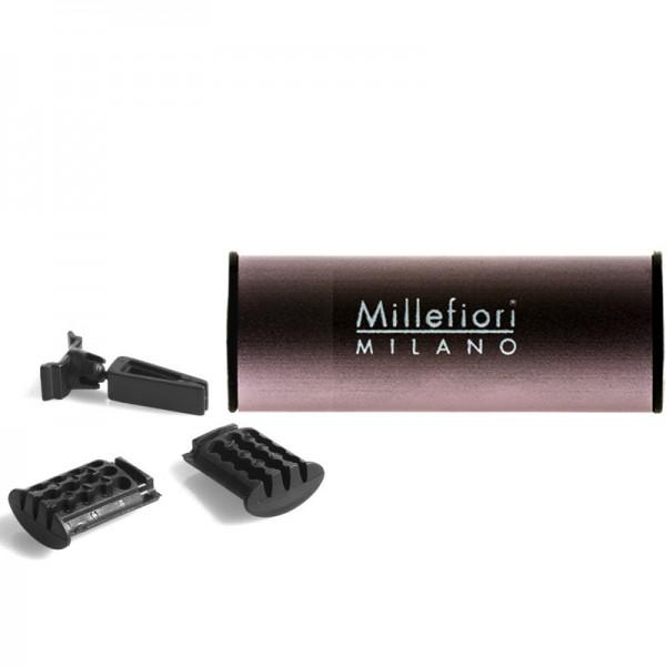 Millefiori Autoduft Sandalo Bergamotto - Metall satiniert + Nachfüller - Sparset
