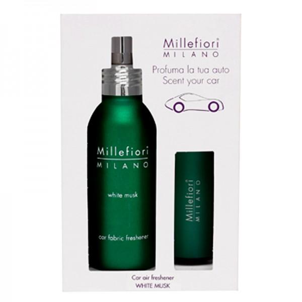 Millefiori Autoduft White Musk + Autotextilspray Car Fabric Freshener