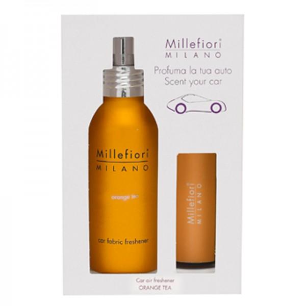 Millefiori Autoduft Orange Tea + Autotextilspray Car Fabric Freshener