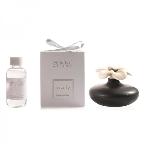 Millefiori Zierdiffuser Blume - schwarz - Sparset - mit Duftauswahl